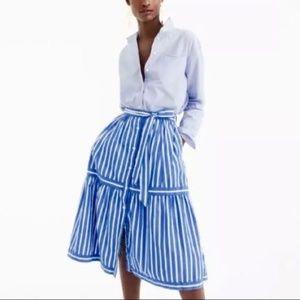 J. Crew Button Front Stripe Full Skirt Sz4 H1175